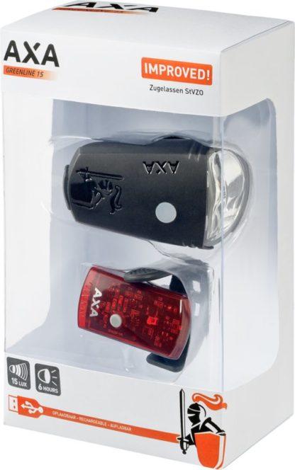 Axa GreenLine 15 - Kit Éclairage Vélo - Noir - AXA - Eclairages - la visibilité - Lampe à LED - Lampes de vélo - LED - rechargeable - Sécurité - usb